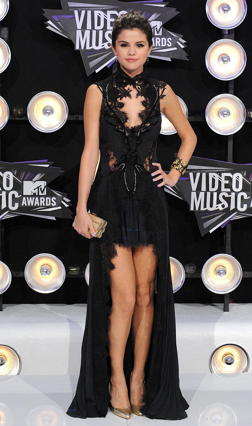 Selena Gomez opted for dark romance in a gown from British designer Julien Macdonald.