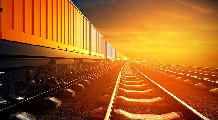 A freight train.