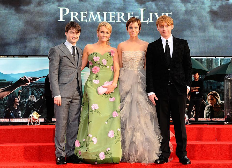 (L-R) Daniel Radcliffe, JK Rowling, Emma Watson and Rupert Grint at the world premiere of Harry Potter And The Deathly Hallows: Part 2.   (Photo by Ian West/PA Images via Getty Images)