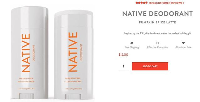 <p>Obviously, every autumn lover knows that to truly embrace the season, one's armpits must smell like pumpkin spice. This deodorant from the Native company will only set you back $12.<br>(Native) </p>