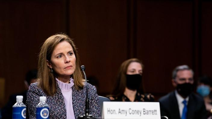 Amy Coney Barrett takes questions from the Senate Judiciary Committee