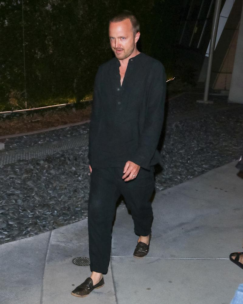 Aaron Paul, fresh off a wellness retreat hosted by Rick Owens.