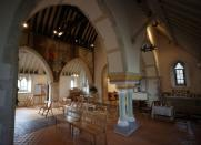 A view inside St Michael and All Angels Church in the village of Berwick near Lewes
