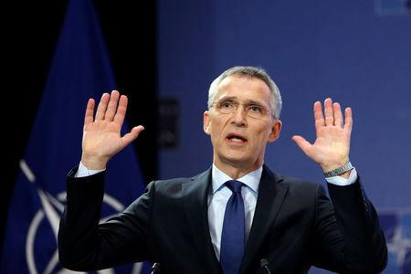 NATO Secretary-General Jens Stoltenberg addresses a news conference ahead of a NATO defence ministers meeting at the Alliance headquarters in Brussels, Belgium, February 13, 2018. REUTERS/Francois Lenoir