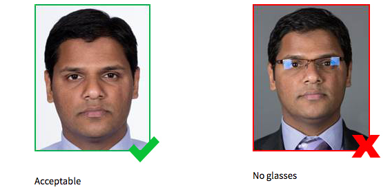 Glasses will no longer be allowed in passport pictures. Source: Department of Foreign Affairs and Trade