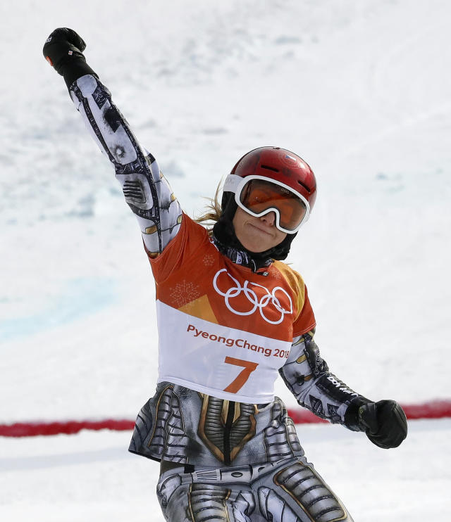 Gold medal winner Ester Ledecka, of the Czech Republic, crosses the finish line during the women's parallel giant slalom final at Phoenix Snow Park at the 2018 Winter Olympics in Pyeongchang, South Korea, Saturday, Feb. 24, 2018. (AP Photo/Lee Jin-man)