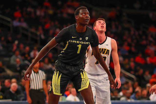 Oregon Ducks center Bol Bol (1) during the first half of a game vs. the Iowa Hawkeyes on Nov. 15, 2018 at Madison Square Garden in New York City. (Getty Images)