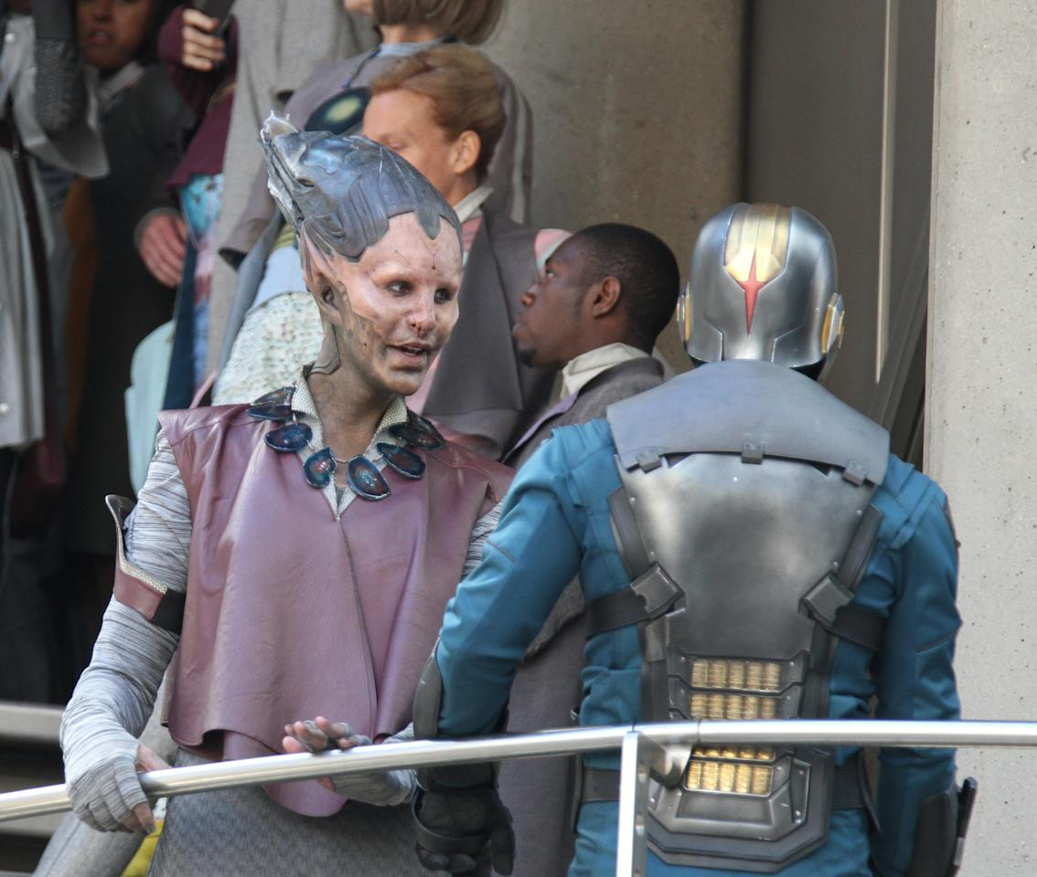 "Glenn Close ( L ) sighting in full make-up filming scenes for ""Guardians of the Galaxy"" on August 11, 2013 in London, England. (Photo by Simon James/FilmMagic)"