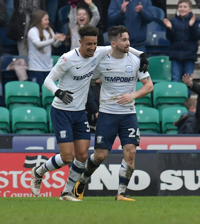 "Soccer Football - Championship - Preston North End vs Fulham - Deepdale, Preston, Britain - March 10, 2018 PrestonÕs Sean Maguire celebrates with Callum Robinson after scoring their second goal Action Images/Paul Burrows EDITORIAL USE ONLY. No use with unauthorized audio, video, data, fixture lists, club/league logos or ""live"" services. Online in-match use limited to 75 images, no video emulation. No use in betting, games or single club/league/player publications. Please contact your account representative for further details."
