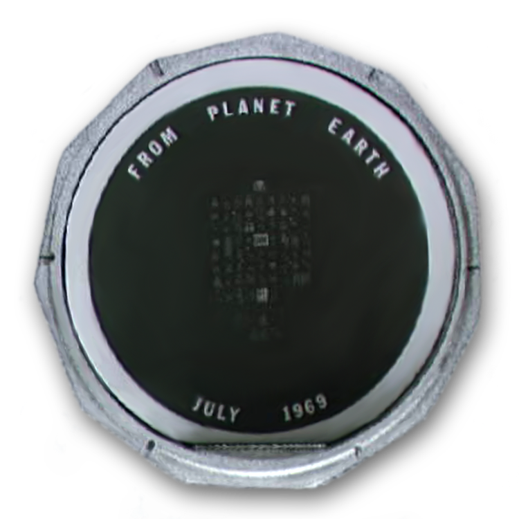 "Among the cargo that made the journey to the moon was a small silicone disc, slightly larger than a quarter, with the words ""From Planet Earth"" etched at the top."