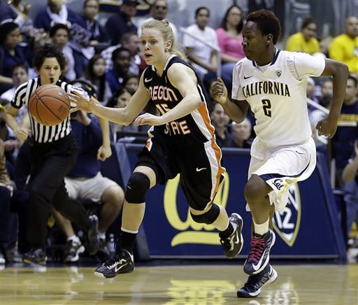 Oregon States' Jamie Weisner, left, drives the ball against California's Afure Jemerigbe (2) in the first half of an NCAA college basketball game Sunday, Feb. 24, 2013, in Berkeley, Calif. (AP Photo/Ben Margot)