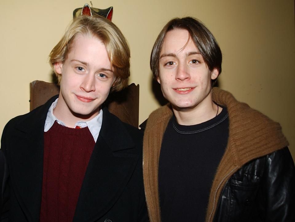 """UNITED STATES - DECEMBER 18:  Macaulay Culkin and brother Kieran are on hand at Gonzalez y Gonzalez for the opening night party for the musical """"Summer of '42.""""  (Photo by Richard Corkery/NY Daily News Archive via Getty Images)"""