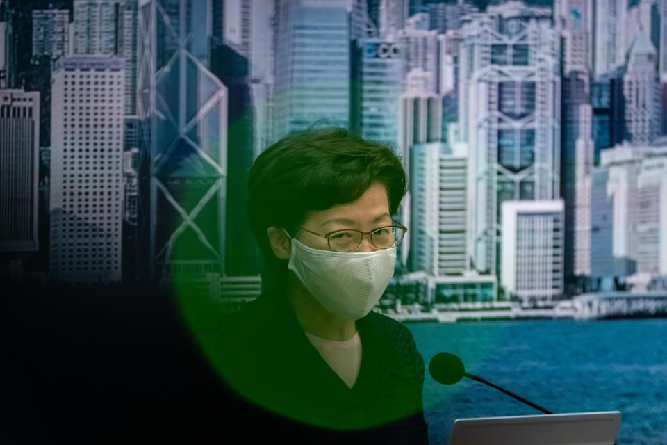 Hong Kong Chief Executive Carrie Lam speaks during a press conference at the Central Government Complex on July 31, 2020 in Hong Kong. Photo: Anthony Kwan/Getty Images