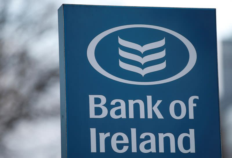 Signage is seen outside a branch of the Bank of Ireland in Dublin, Ireland