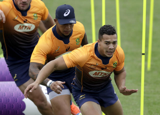 South Africa's Cheslin Kolbe does sprint work during a training session in Tokyo, Japan, Thursday, Oct. 17, 2019. South Africa play Japan in a Rugby World Cup quarterfinal on Sunday Oct. 20. (AP Photo/Mark Baker)