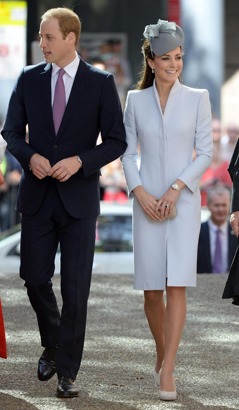 <p>Kate donned an elegant dove grey ensemble by Alexander McQueen for Easter services in Australia. She paired the look with a bespoke hat by Jane Taylor, an Alexander McQueen suede clutch and L.K. Bennett pumps. </p><p><i>[Photo: PA]</i></p>