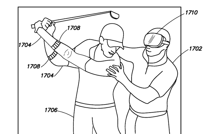 Athletes could better measure body metrics, such as improving their golf swing, the patent says (Facebook/European Patent Office)