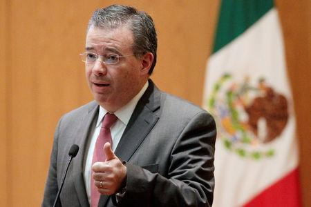 FILE PHOTO:  Mexico's Central Bank Governor Alejandro Diaz de Leon gestures during a conference in Mexico City