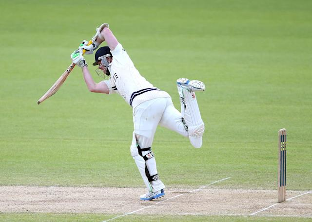 BIRMINGHAM, ENGLAND - MAY 06: Sam Robson of Middlesex plays defensive during the LV County Championship match between Warwickshire and Middlesex at Edgbaston on May 6, 2014 in Birmingham, England. (Photo by Jan Kruger/Getty Images)
