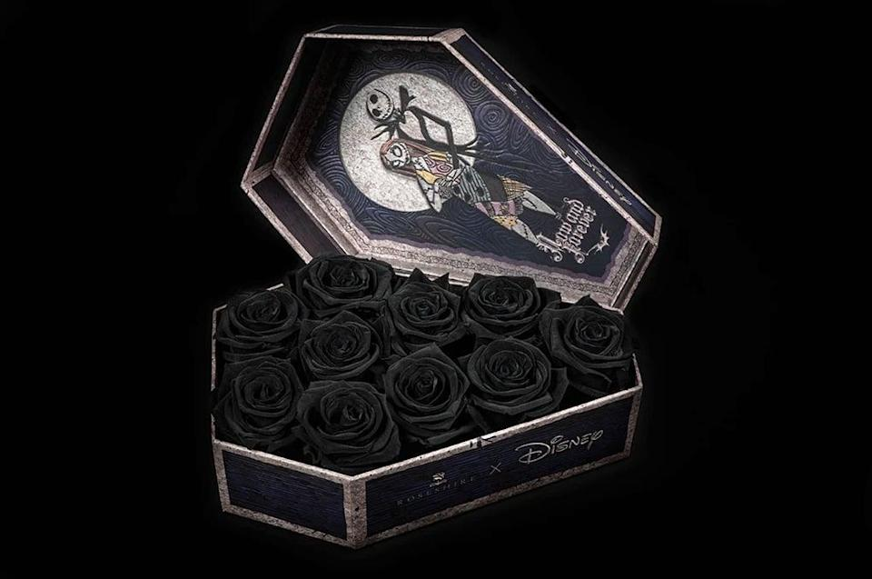 "<p>This ""Now and Forever""-themed <span><strong>The Nightmare Before Christmas</strong> flower box</span> ($139) is hauntingly beautiful and features Jack and Sally and 10 black or red roses.</p>"