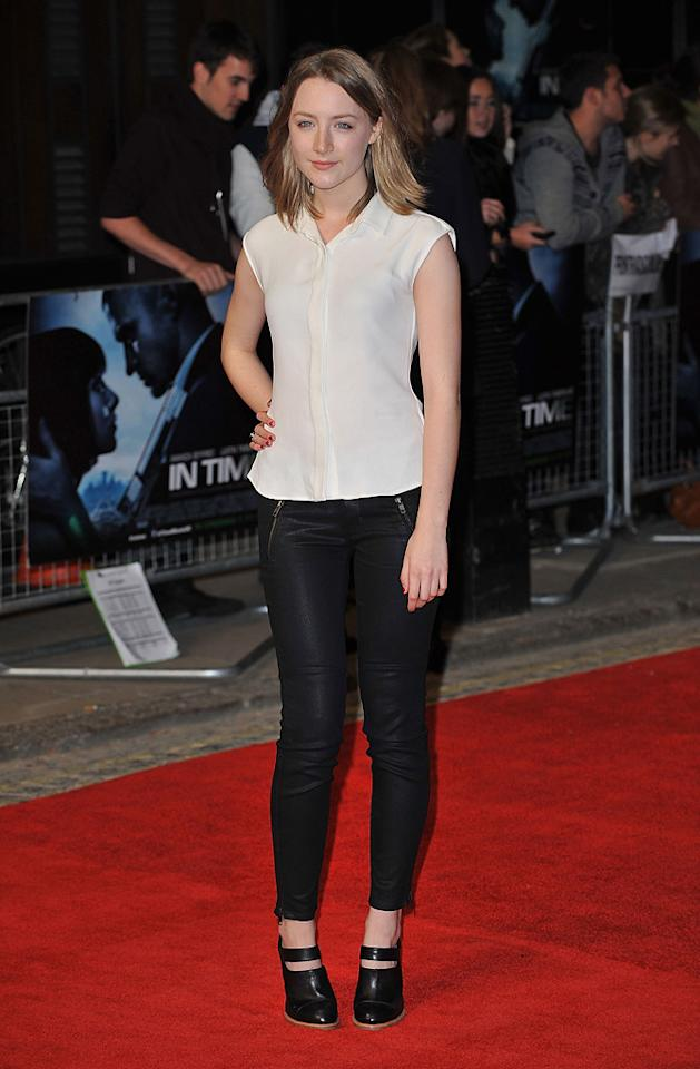 "<a href=""http://movies.yahoo.com/movie/contributor/1809679700"">Saoirse Ronan</a> at the London premiere of <a href=""http://movies.yahoo.com/movie/1810218430/info"">In Time</a> on October 31, 2011."