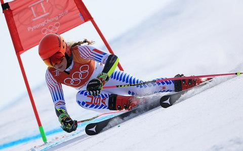 American ski racer Mikaela Shriffin giant slalom gold Oakley Harmony Fade Flight Deck XM Pyeongchang 2018 Winter Olympics - Credit: Sean M Haffey/Getty Images