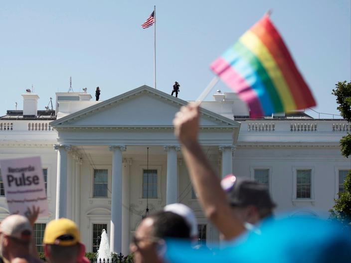 <p>An equality march outside the White House in 2017</p> (AP)