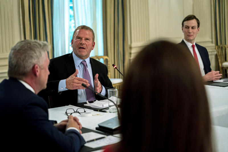 Tilman Fertitta, owner of the Houston Rockets, makes remarks towards President Donald Trump during a roundtable in the State Dining Room of the White House on May 18, 2020, in Washington, DC.