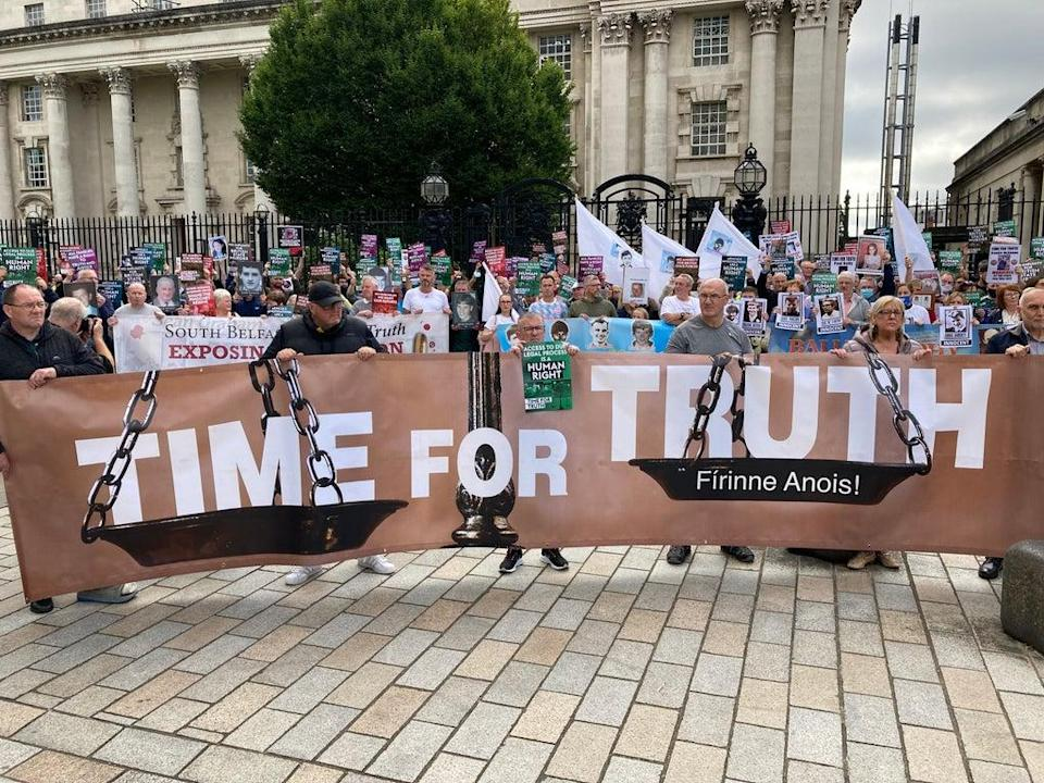 The Time For Truth campaign demonstration outside the courts in Belfast on a national day of action across Ireland against the British government's proposals for dealing with the past. (Rebecca Black/PA)