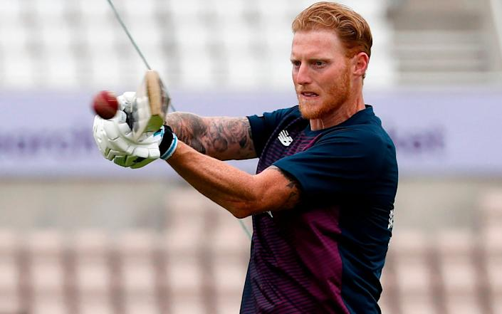 England's Ben Stokes warms up ahead of play on the first day of the first Test cricket match between England and the West Indies at the Ageas Bowl in Southampton, southwest England on July 8, 2020 - Adrian Dennis/AFP