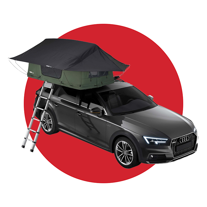 """<p><strong>Soft shell tent</strong></p><p>thule.com</p><p><strong>$1799.95</strong></p><p><a href=""""https://www.thule.com/en-us/rooftop-tents-and-accessories/rooftop-tents/thule-tepui-foothill-_-901250"""" rel=""""nofollow noopener"""" target=""""_blank"""" data-ylk=""""slk:BUY IT HERE"""" class=""""link rapid-noclick-resp"""">BUY IT HERE</a></p><p>Make any part of the great outdoors your campsite with the convenience of a car-top tent. We love this new model from Thule, which includes a two-person tent that only takes up half of your car's roof. That way, you can use the other half to carry a paddleboard, a kayak, a bike, or something else.</p>"""