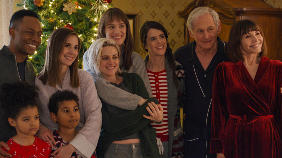 There are very few LGBT+ romcoms set around Christmas, but that will hopefully change in the wake of <em>Happiest Season</em>. Kristen Stewart and Mackenzie Davis's lead performances were part of a killer ensemble, also benefiting from the considerable talents of Aubrey Plaza, Alison Brie and Dan Levy. (Credit: eOne)