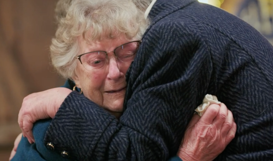 Rose hugged her sister and cried happy tears are the results of the restoration were revealed (BBC)