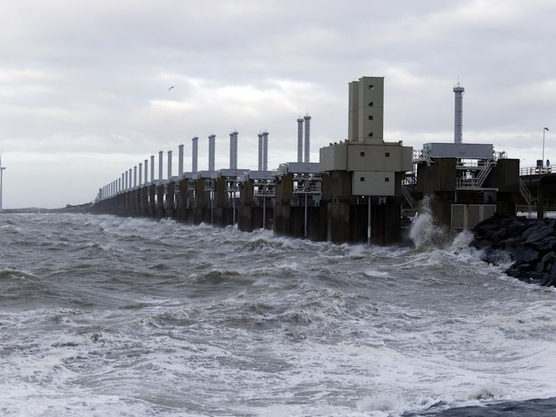 The Oosterscheldekering is the largest of thirteen existing dams and storm surge barriers, designed to protect the Netherlands from flooding from the North Sea: Getty