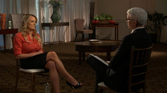 Stormy Daniels speaking with Anderson Cooper on <em>60 Minutes.</em> (Photo: Getty Images/CBS)