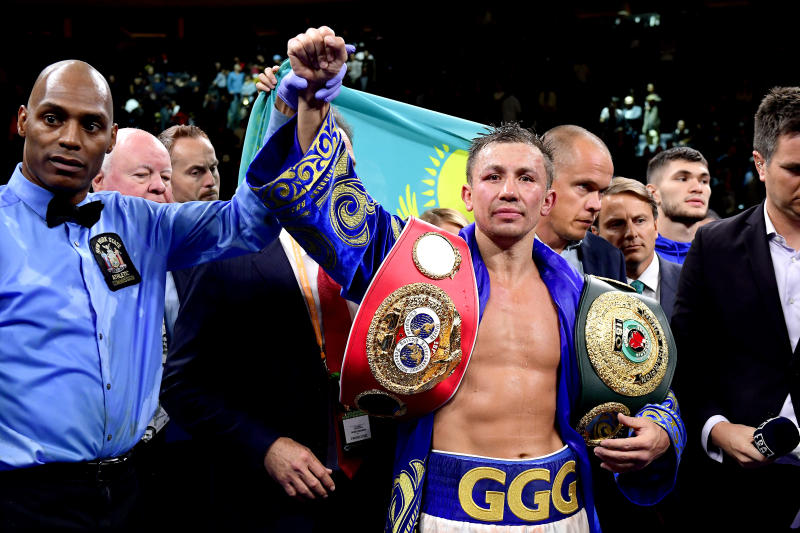 NEW YORK, NEW YORK - OCTOBER 05: Gennady Golovkin is awarded victory in his IBF middleweight title bout against Sergiy Derevyanchenko at Madison Square Garden on October 05, 2019 in New York City. (Photo by Steven Ryan/Getty Images)