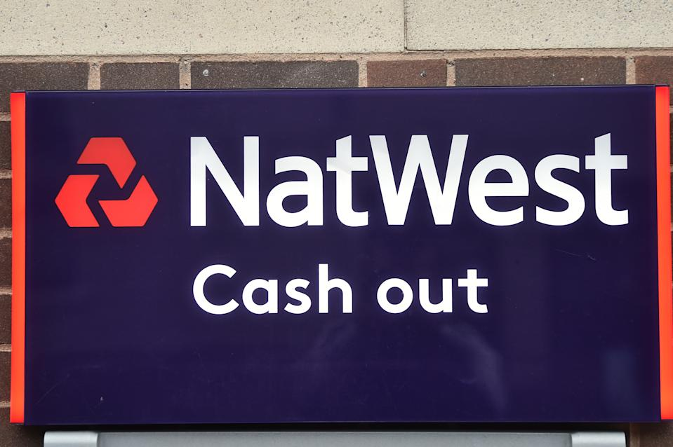 A NatWest Bank cash out sign in Newcastle-under-Lyme, England. Photo: Nathan Stirk/Getty Images