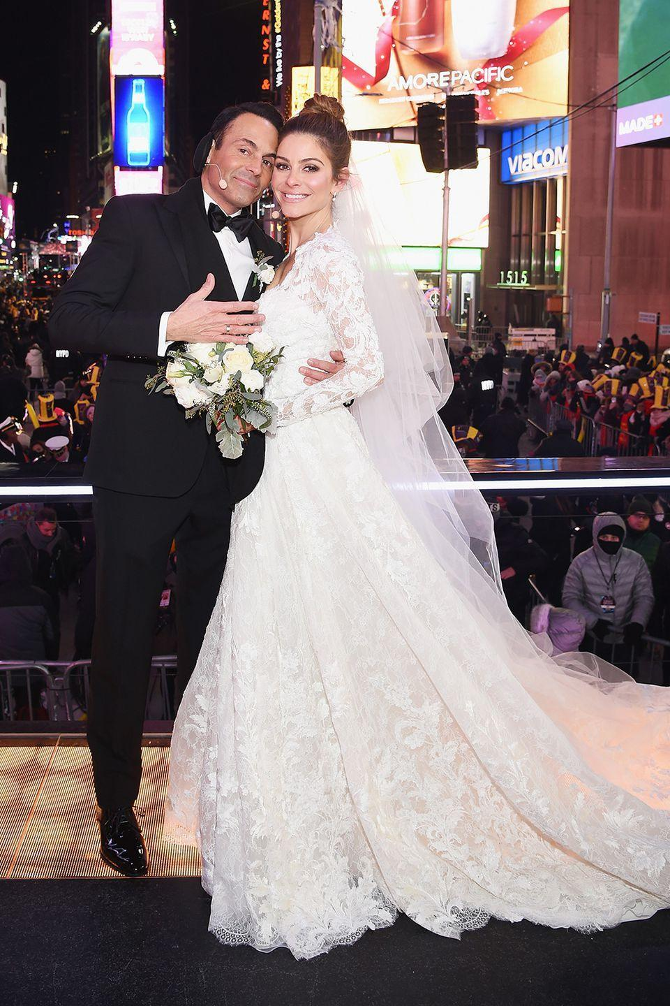 <p>Maria Menounos got married to her longtime beau Kevin Undergaro on New Year's Eve in a surprise ceremony in Times Square! Her long-sleeved Atelier Pronovias mermaid gown was classically chic (and hopefully the long sleeves kept her warm).</p>