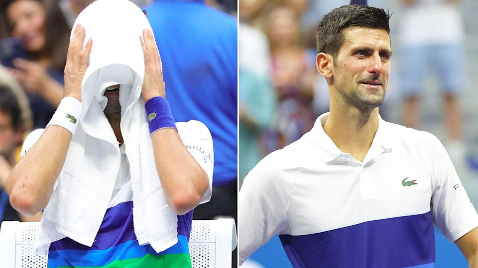 Pictured here, Novak Djokovic is reduced to tears during the US Open final.