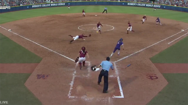 Florida State third baseman Jessie Warren made an insane double play in Game 1 of the Women's College World Series National Championship on Monday night. (Twitter/NCAASoftball)