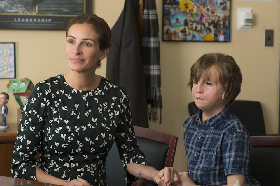 Julia Roberts and Jacob Tremblay are mother and son in the box-office hit <em>Wonder</em>. (Photo: Dale Robinette/Lionsgate)