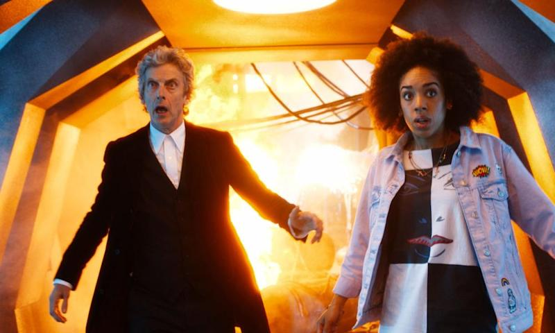 Peter Capaldi as Doctor Who and Pearl Mackie as Bill Potts.