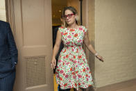 Sen. Kyrsten Sinema, D-Ariz., leaves a closed-door bipartisan infrastructure meeting with a group of senators and White House aides on Capitol Hill in Washington, Tuesday, June 22, 2021. (AP Photo/Manuel Balce Ceneta)
