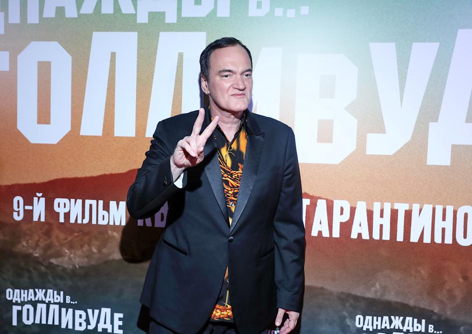 """MOSCOW, RUSSIA - AUGUST 07: Quentin Tarantino attends the premiere of the movie """"Once Upon a time in Hollywood"""" at Oktyabr cinema hall on August 7, 2019 in Moscow, Russia. (Photo by Gennady Avramenko/Epsilon/Getty Images)"""