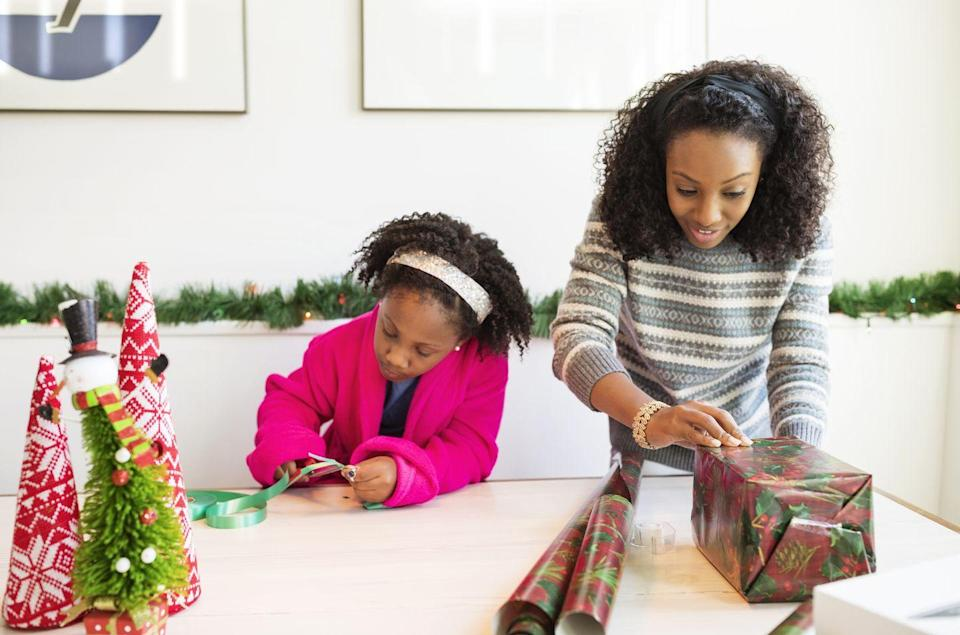 <p>Most of us wrap gifts carefully, taking our time to get the corners perfectly square and the ribbon beautifully curled for an Instagram-worthy gift. Chill out about the whole enterprise by turning it into a game. Give each participant a gift and wrapping materials – whoever finishes fastest wins. </p>
