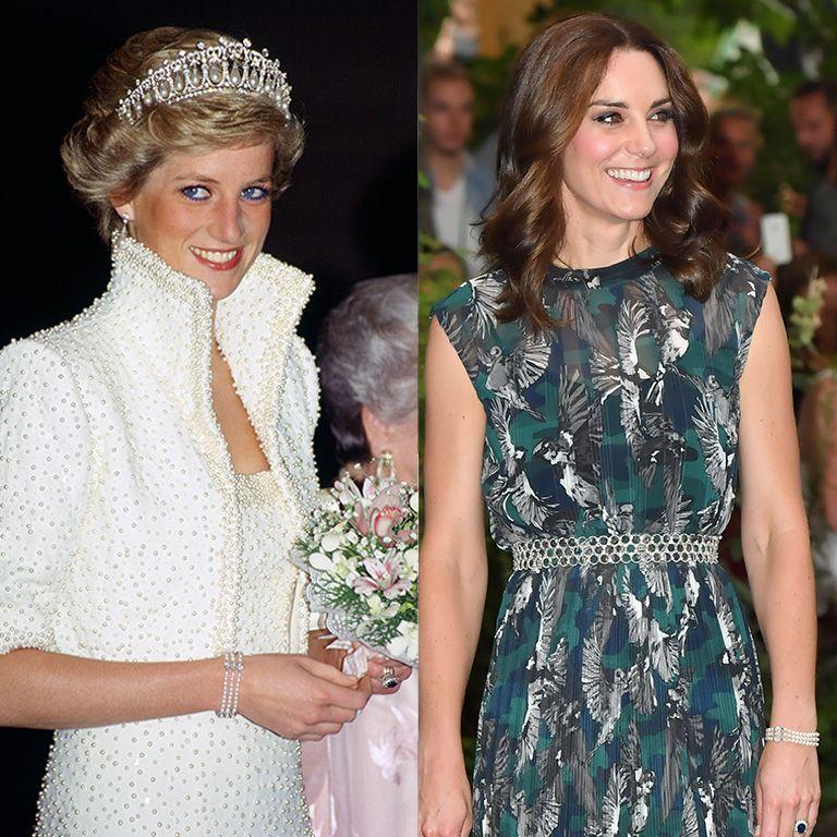 """<p>This<a href=""""https://www.goodhousekeeping.com/life/news/a45672/princess-dianas-jewelry-kate-middleton-wears/"""" rel=""""nofollow noopener"""" target=""""_blank"""" data-ylk=""""slk:pearl bracelet frequently worn"""" class=""""link rapid-noclick-resp""""> pearl bracelet frequently worn</a> by Princess Diana was designed by Nigel Milne in 1988. Kate debuted the bracelet during a royal tour in Germany back in 2017. </p>"""