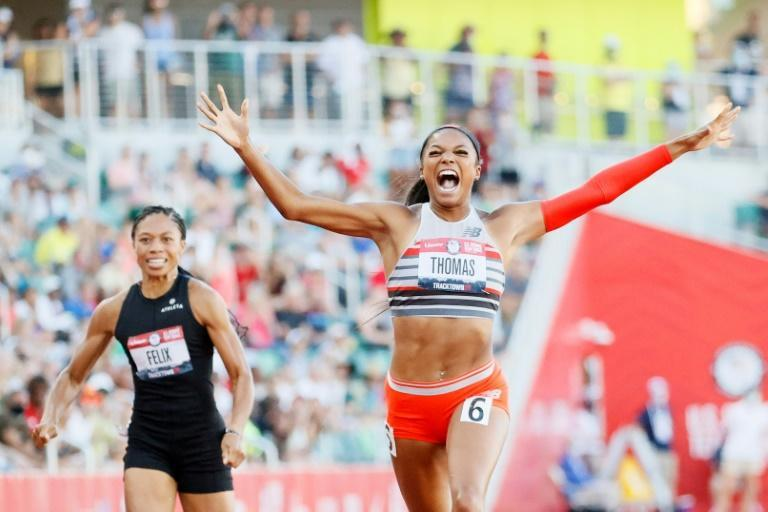 Gabby Thomas crosses the finish line ahead of childhood hero Allyson Felix at last month's US Olympic trials in Oregon