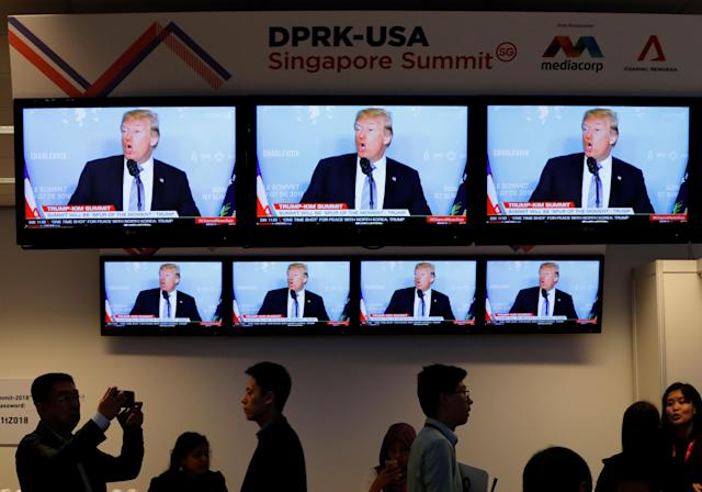 <p>A TV news reports about President Donald Trump is projected on tv sets at a media center for the summit between the U.S and North Korea in Singapore, June 10, 2018. (Photo: Kim Kyung-Hoon/Reuters) </p>