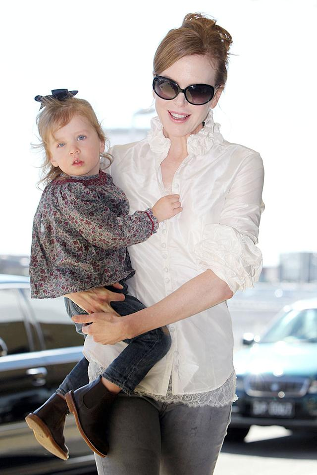 "Adam's co-star in the upcoming movie ""Just Go With It"" bonded with her sweet Sunday Rose while leaving Sydney, Australia. Don't you think the baby looks like her dad Keith Urban? Blue Wasp/Red Wasp/<a href=""http://www.splashnewsonline.com"" target=""new"">Splash News</a> - June 20, 2010"