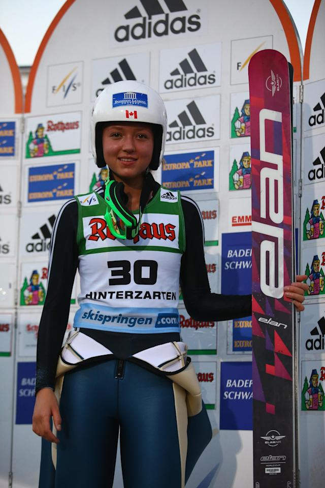 HINTERZARTEN, GERMANY - JULY 26: Alexandra Pretorius of Canada poses after winning the women's competition of the FIS Ski Jumping Summer Grand Prix at Rothausschanze on July 26, 2013 in Hinterzarten, Germany. (Photo by Christof Koepsel/Getty Images)